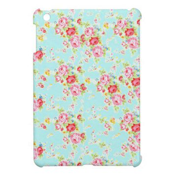 Vintage floral roses blue shabby rose flowers chic case for the iPad mini from Zazzle.com