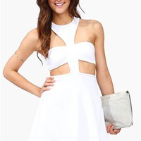 Skater Cut Out Dress - White at Necessary Clothing