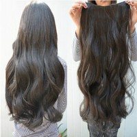 Gorgeous Long Curly Clip ¨Con Hair Extensions Beauty Black Wavy 5 Clips Hairpiece