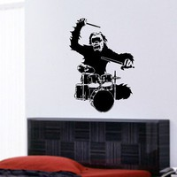 Monkey Drummer Decal Wall Sticker Music Punk Kids by DabbleDown