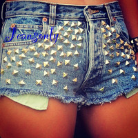 Studded shorts,high waist studded denim shorts by Jeansonly