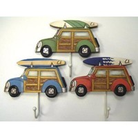 Tropical Beachy Woody & Surfboard Wall Hooks Set of 3