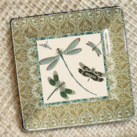 Dragonfly Art Garden Decor / Decoupage Plate Wall Art / spring green birds and bees sunshine inspired