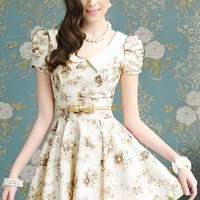 Gorgeous Floral Print Puff Sleeves A-line Dress - OASAP.com