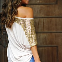 Glitter In Her Veins Top: Tan/Gold | Hope's