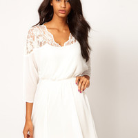 ASOS Skater Dress with Lace Top & Scallop Neck