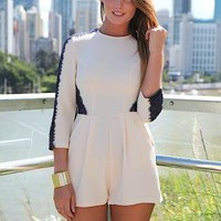 Cream Playsuit with Contrast Lace Detail &amp; Two Front Pockets