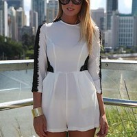 White Playsuit with Contrast Lace Detail &amp; Two Front Pockets