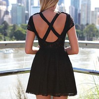 Black Dress with Lace Detail and Open Cross Back