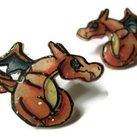 Charizard Pokemon Stud Earrings, Glitter Coating or No Glitter Option, OOAK,Hypoallergenic Surgical Steel Posts, Made to Order