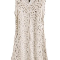 Beige Hollow Mini Dress