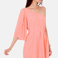 Take It Or Sleeve It One Shoulder Peach Dress