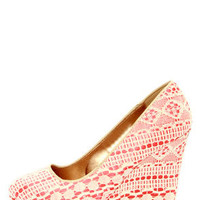 Ailey 2 Beige and Coral Lace Platform Wedges
