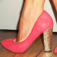 Pretty Coral Suede Shoe With Glitter Block Heel from RMW
