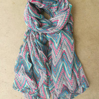 Zig Zag Ikat Scarf in Gray [3864] - $16.00 : Vintage Inspired Clothing & Affordable Summer Frocks, deloom | Modern. Vintage. Crafted.