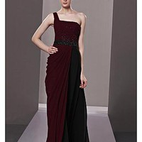 [239.99] In Stock Amazing A-line One Shoulder Natural Waist Floor Length Draped Formal Wear - Dressilyme.com