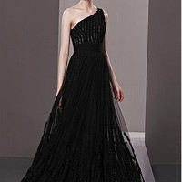 [364.99] In Stock Elegant A-line Sleeveless One Shoulder Natural Waist Long Black Evening Dress - Dressilyme.com