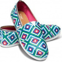 Green Tribal Glitter Youth Alpargata | TOMS.com