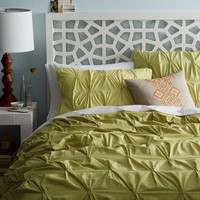 Organic Cotton Pintuck Duvet Cover + Shams - Leek