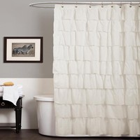 Lush Decor Ruffle Ivory Shower Curtain | Overstock.com