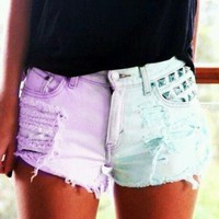 Light purple & Baby blue Low-rise Shorts - FOR THE HIGHNESS