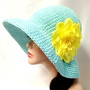Blue Crochet Cotton Summer Hat