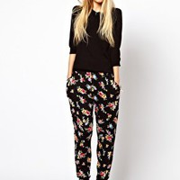 ASOS Peg Trousers in Floral at asos.com