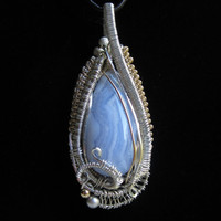 Wire Wrap Pendant with Blue Lace Agate in Sterling by studiodct