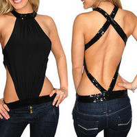 sexy black backless cool flashing T shirt