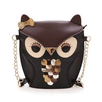 Vintage Contrast Color Owl Satchel/Purse