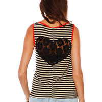 Papaya Clothing Online :: HEART CROCHET STRIPE TANK
