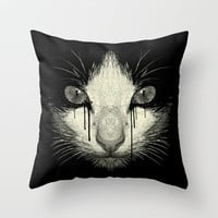 Inked Cat Throw Pillow by moncheng
