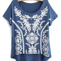 Sweet Vintage Lace Print Modal Short T-shirts