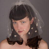 Wedding Veil with Silk Flowers by sweetlittlesparrow