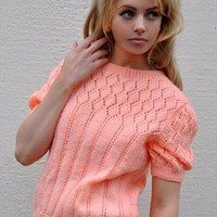 Vintage orange short-sleeved knitted jumper from Club Vintage