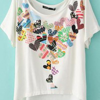 Peach Hearts Two-sided Print Loose Short T-shirt