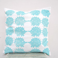 Kids throw pillow - hedgehog pillow in aqua turquoise, woodland nursery decor, eco friendly organic cotton pillow