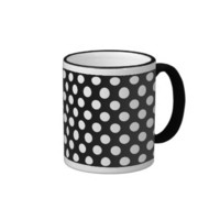 White on Black Polka Dot Pattern Mug from Zazzle.com