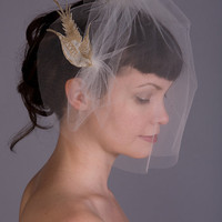 Sweet Little Sparrow Wedding Veil with Embroidered Bird