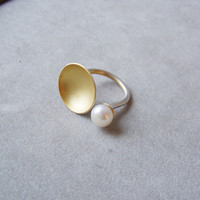 Gold disk ring, sterling silver open  ring, deisgner handmade, open  ring of a gold disk and a white pearl, made to order