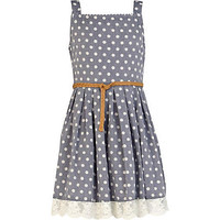 Girls blue denim polka dot prom dress