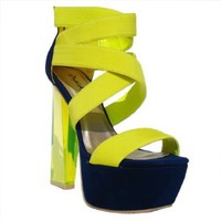 Women's Qupid Neon Yellow Lycra Strappy Lucite Platform Sandal Pump (Arctic10x):Amazon:Shoes