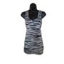 Gray Slate and Black Zebra Striped Animal Print Chic Tank Top Womens Clothing Size Medium