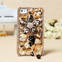 Apple iPhone 4S 4G 3GS iPod Touch Flowers Crystals Back Skin - GULLEITRUSTMART.COM
