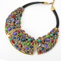Retro Environmental Protection Alloy Colorful Acrylic Pendant Necklace:Amazon:Jewelry
