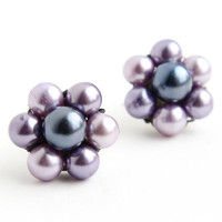 Vintage Blue & Purple Beaded Clip On Earrings -  Silver Tone Weaved Cluster Japan Costume Jewelry / Lavender Flowers