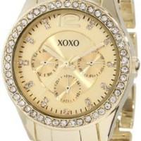 XOXO Women's XO5475 Gold-Tone Bracelet With Rhinestones Accent Bezel Watch:Amazon:Watches
