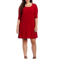 Star Vixen Women's Plus-Size Tie Cowl-Back Elbow Sleeve Dress:Amazon:Clothing