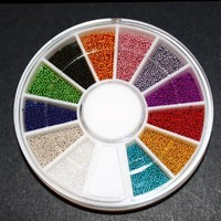 12 Colors Mini Ball Beads NAIL ART 3D Decoration In Wheel with Bonus Sample:Amazon:Beauty
