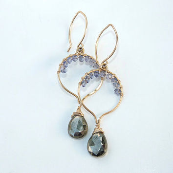 pyrite, iolite and gold earrings - dangle earrings - 14k gold filled earrings -cute earrings - lotus hoops